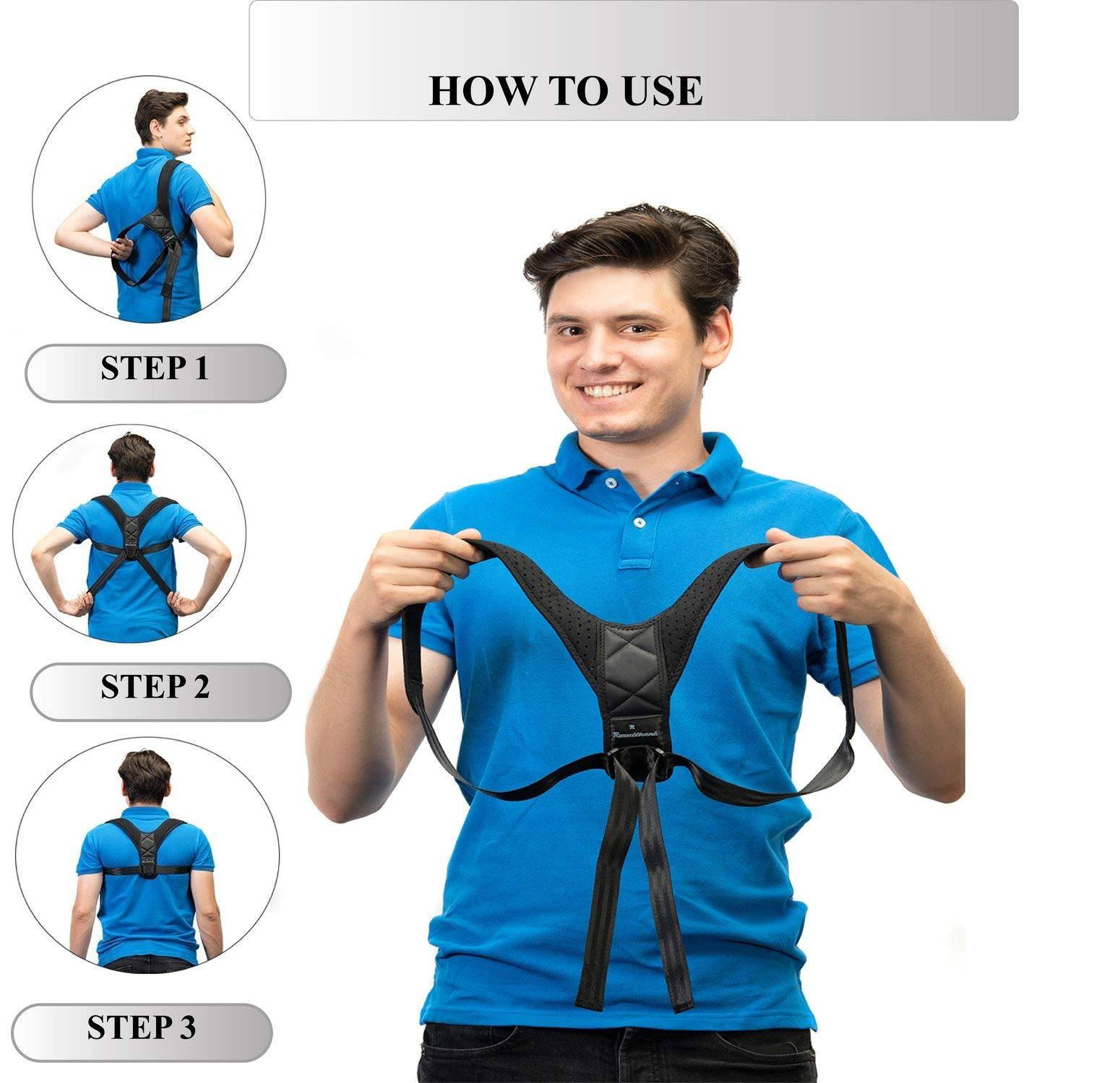 Back Posture Corrector for Women and Men-Breathable and Comfortable Clavicle Brace for Improving Posture-Adjustable and Discreet Clavicle Support Brace for Slouching & Hunching by Roxattract (Image #7)