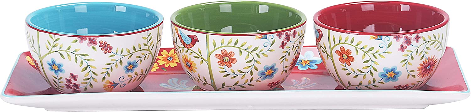 Bico Red Spring Bird Ceramic Dipping Bowl Set (9oz bowls with 14 inch platter), for Sauce, Nachos, Snacks, Microwave & Dishwasher Safe