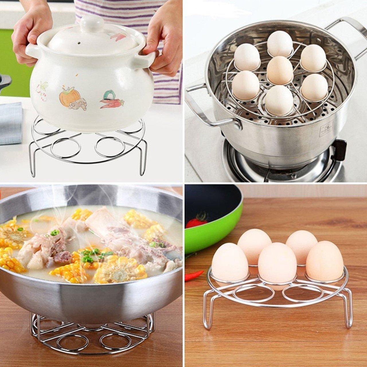 TinaWood 2 PCS//Set Curved and Straight Egg Cooker Stand//Stackable Steamer Rack for Instant Pot//Vegetable Steam Rack Trivet Basket for Pressure Cooker Curved+Straight