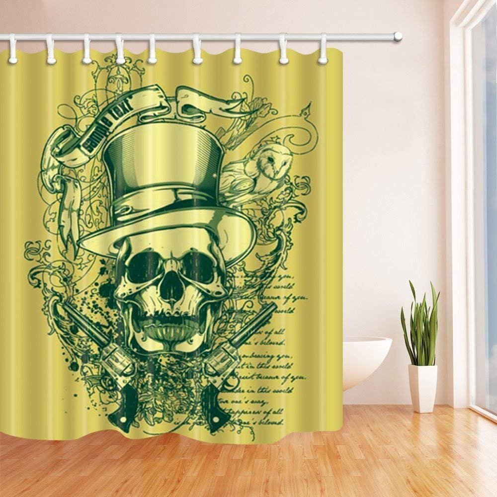 Yomyceo Halloween Shower Curtains for Bathroom, Western Festival Skull and Guns Against DarkKhaki Backdrop, Polyester Fabric Waterproof Bath Curtain, Shower Curtain Hooks Included, 72X72 inch
