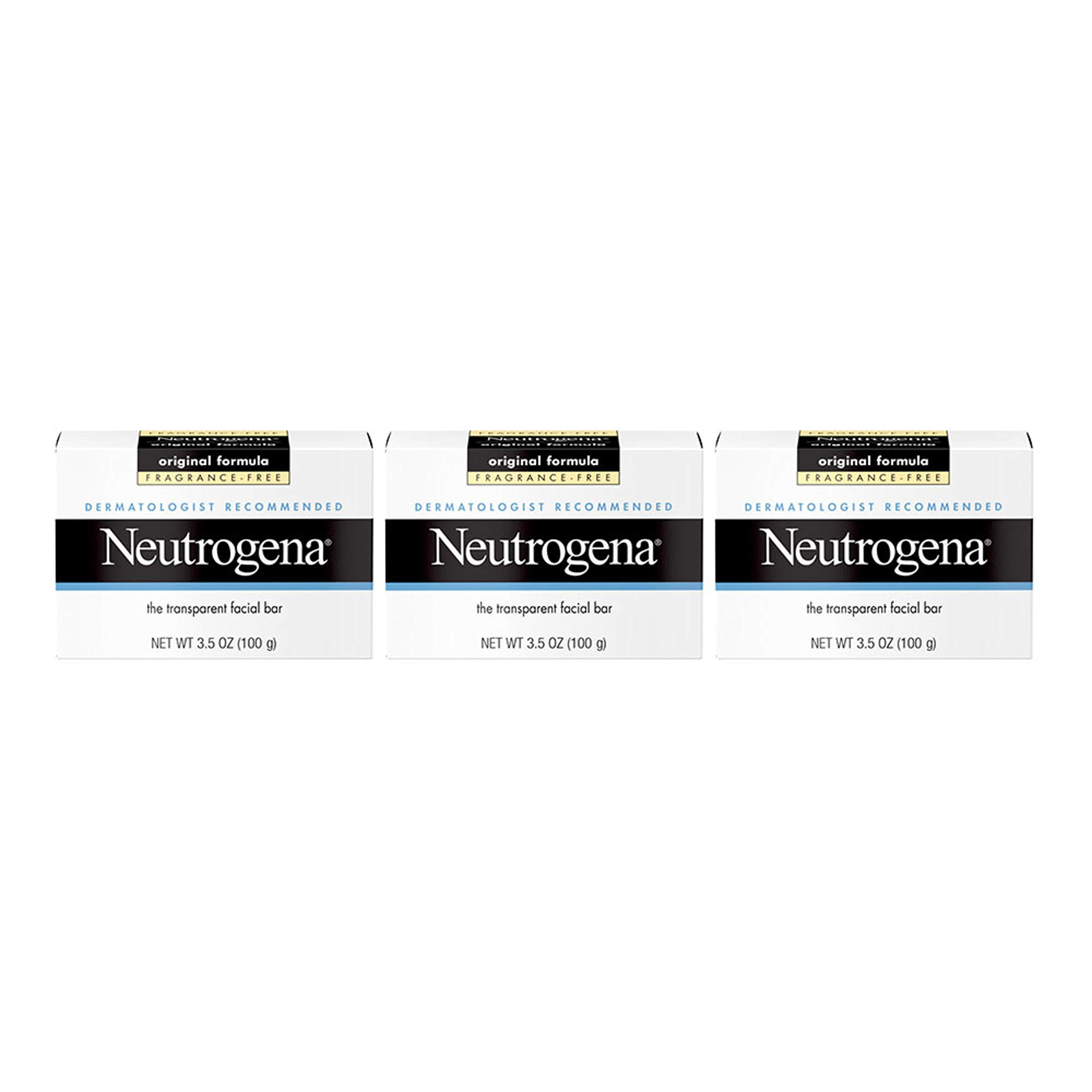 Neutrogena Original Fragrance-Free Facial Cleansing Bar with Glycerin, Pure & Transparent Gentle Face Wash Bar Soap, Free of Harsh Detergents, Dyes & Hardeners, 3.5 oz (Pack of 3)