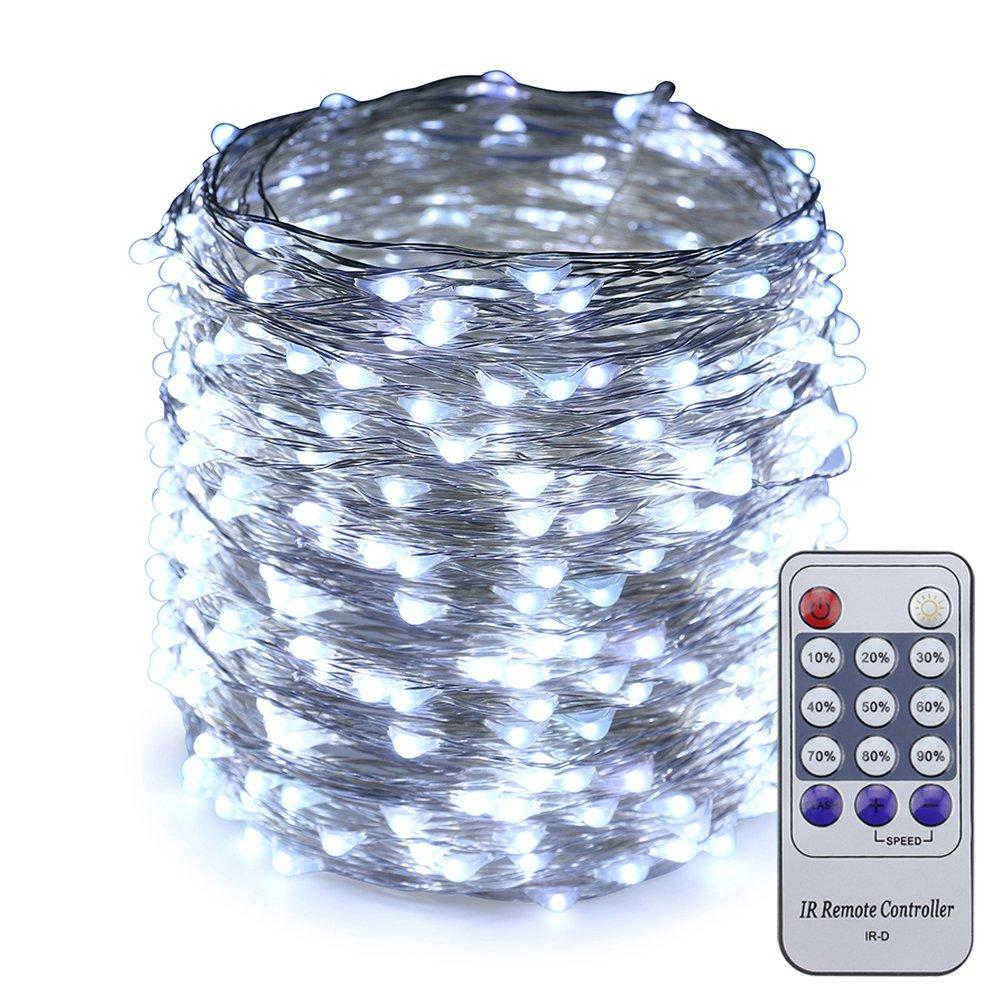 ER CHEN(TM) 165ft Led String Lights,500 Led Starry Lights on 50M Silver Coating Copper Wire String Lights + 12V DC Power Adapter + Remote Control(White)