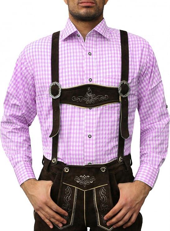 German Wear Traje Camisa Traje Regional Mode de algodón para Trachten Lederhose Color Rosa Rosa: Amazon.es: Ropa y accesorios