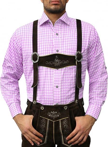 Camisa para traje regional tirolés, color rosa: Amazon.es ...