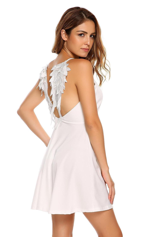 d986522b55 dongba Women s v-Neck Spaghetti Strap Wing Open Back Skater Dress Women s  high Waist Knee Length Dress Dresses at Amazon Women s Clothing store