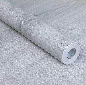 REDODECO Self-adhesive Gray Wood Grain Adhesive Paper Counter Top Vinyl Furniture Cabinets Wardrobe Shelf Liner Wallpaper,17.7inch X 130inch (Light Grey)
