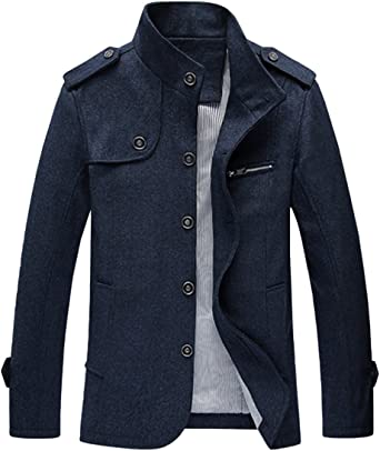 TALLA XS. Mirecoo Chaqueta corta de invierno para hombre, con cuello alto, mezcla de lana sintética, forro polar borg sherpa, con botones, para invierno