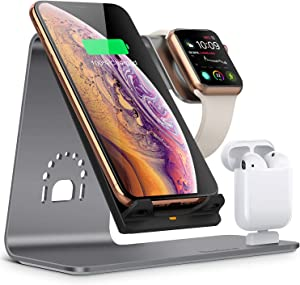 Bestand Wireless Charger Stand, 3 in 1 Qi Fast Wireless Charger Dock Compatible with Airpods/iPhone X/Xs/Xs Max/XR/8 Plus/ 8/Samsung Galaxy S10/S9/S9+, Aluminum Stand for iWatch