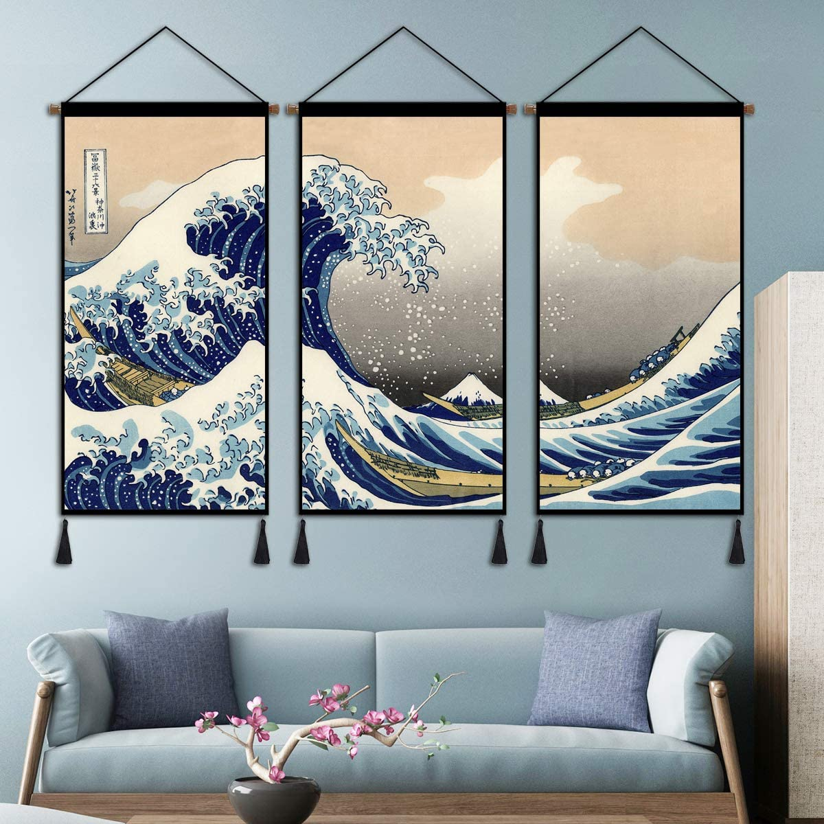 Hanging Poster Wall Art, Kanagawa Great Wave Tapestry Nature Artwork, 3 Panels Indoor Decor for Home Dorm Office with Hanging Kit 18x36 Inch