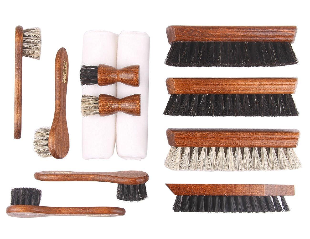 12 teiliges Schuhputzset für Glattleder – Holz Schuhbürsten mit Rosshaar – Made in Germany – Classic Edition z2604