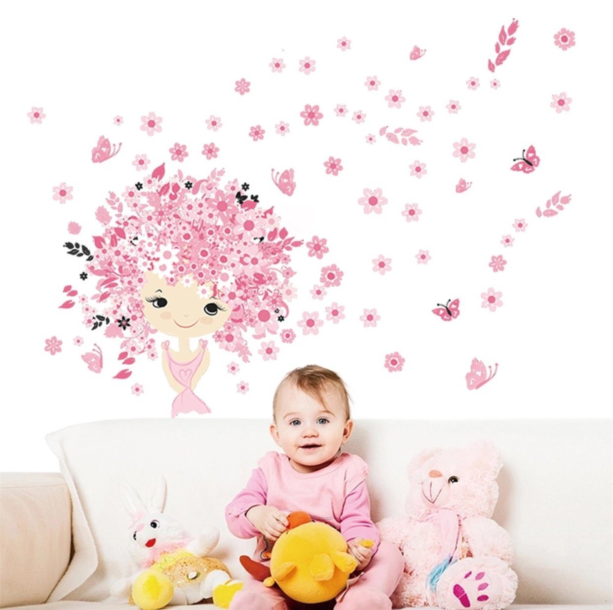 Colorful flower Flower Fairy pink cute baby girl Mermaid butterfly home decals wall sticker for kids child room nursery wall art Sticker world
