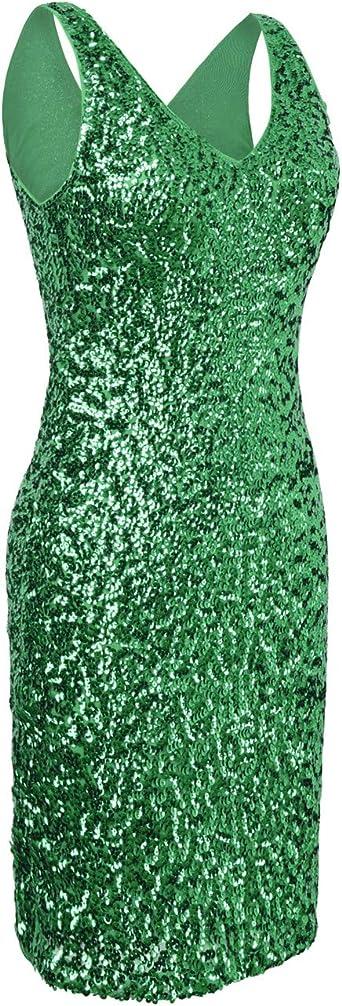 kayamiya damska sukienka koktajlowa z dekoltem w kształcie litery V, z cekinami - s: Odzież