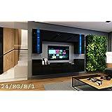 Wohnwand FUTURE 24 Moderne Wohnwand, Exklusive Mediamöbel, TV-Schrank, Neue Garnitur, Große Farbauswahl (RGB LED-Beleuchtung Verfügbar) (ohne LED, Schwarz Hochglanz)