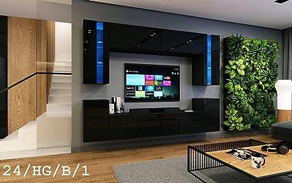 Wohnwand FUTURE 24 Moderne Wohnwand, Exklusive Mediamöbel, TV-Schrank, Neue  Garnitur, Große Farbauswahl (RGB LED-Beleuchtung Verfügbar) (LED ...