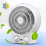 Aigostar Airwin White 33IEK - Calefactor de aire con termostato regulable, potencia de 2000 watios, función de aire caliente de dos niveles o ventilador con temperatura ambiente, color blanco. Protección contra el sobrecalentamiento. Diseño exclusivo.