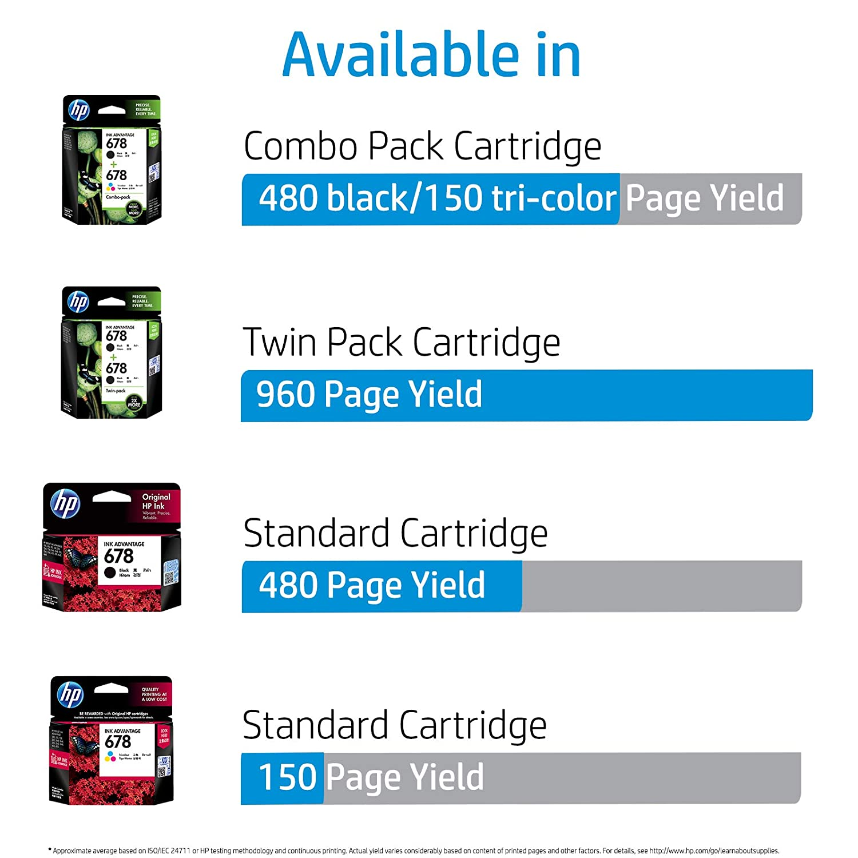 2-Pack Black/Tri-Color Ink Advantage Cartridges HP 678
