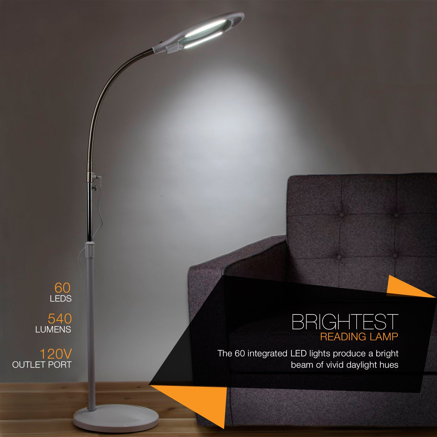 Brightech LightView Pro LED Magnifying Floor Lamp - Daylight ...