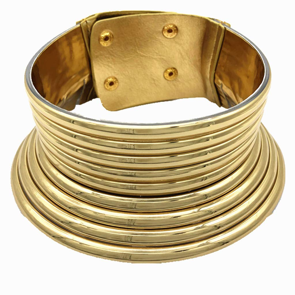 Agelloc African National Flamboyant Adjustable Personality Creative Style Large Collar PVC Necklace Party Daily Wear (Gold) by Agelloc
