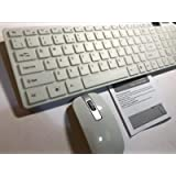 White Wireless Keyboard and Mouse + Number Pad for Lenovo All-in-one PC