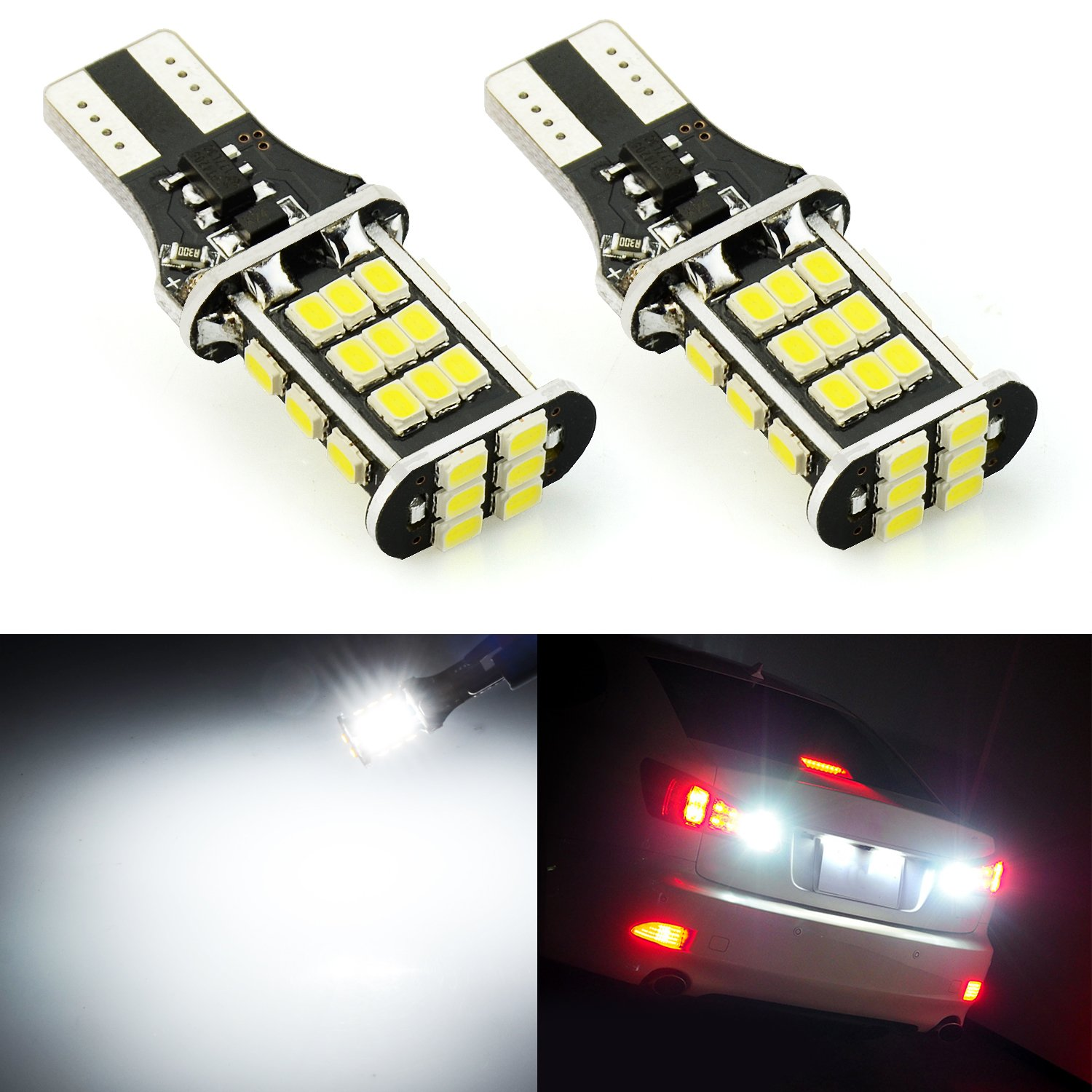 JDM ASTAR 2000 lumens Extremely Bright Error Free 921 912 3020 Chips LED Bulbs For Backup Reverse Lights, Xenon White