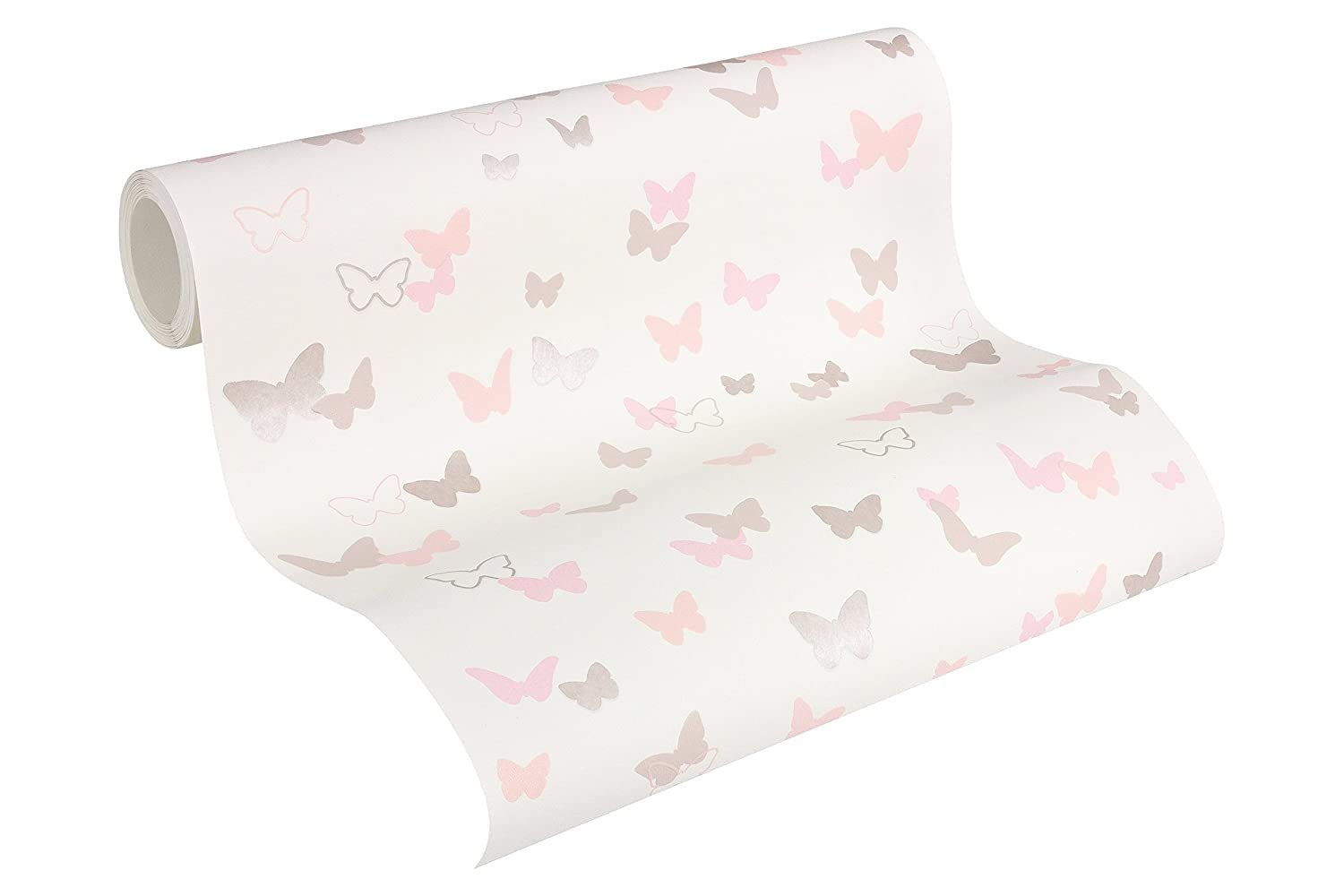 Esprit Kids Vliestapete Sweet Butterfly Tapete Kindertapete 10, 05 m x 0, 53 m grau rosa rot Made in Germany 302882 30288-2 A.S. Création