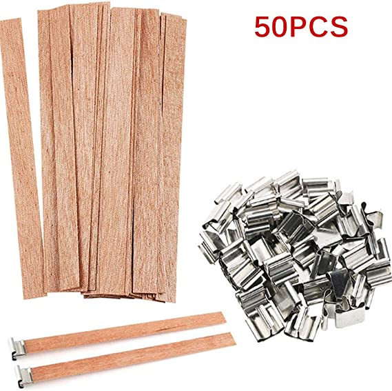 Candle Making Kit Wood Wicks Candle for Candle Making and Candle DIY Craft Natural Environmental Friendly Candle Core Porcyco 50pcs Candle Core