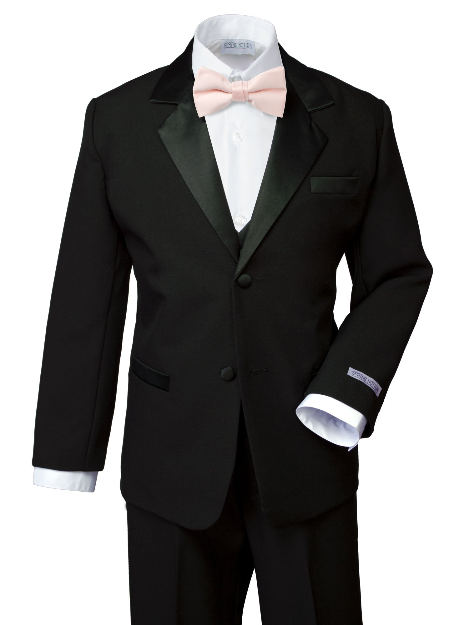 Spring Notion Boys' Classic Fit Tuxedo Set, No Tail 10 Black-Blush Pink