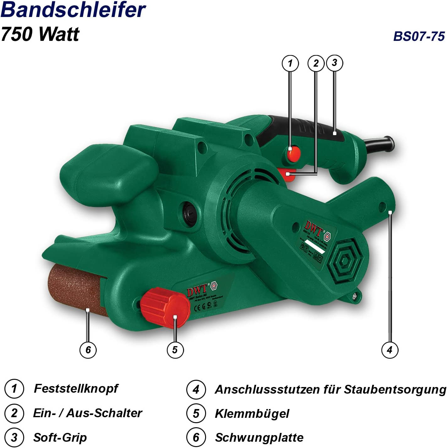 DWT Bandschleifer Schleifer 750 W BS07-75
