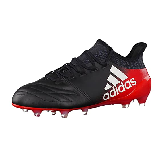 adidas X 16.1 Leather FG Football Boots - Core Black White Red - Size c2ea00cab