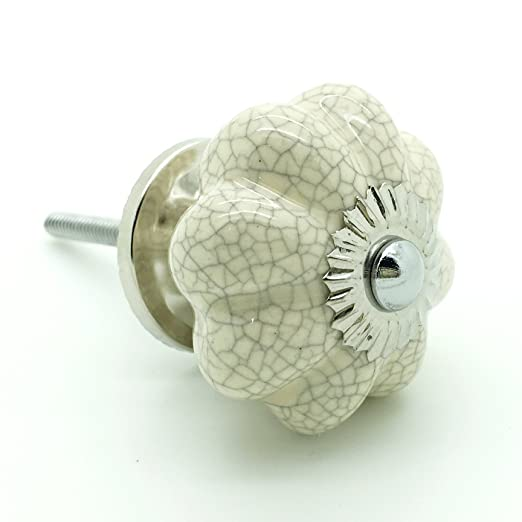 Delicieux Cream Crackle Melon Ceramic Door Knob Vintage Shabby Chic Cupboard Drawer  Pull Handle 4514 GY