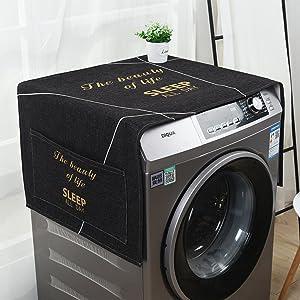"LANGUGU Fridge Dust Cover Kitchen Decor, Universal Sunscreen Cover with Storage Bag for Refrigerator and Washing Machine,Black Understated Simple Line Decoration Minimalist Design,21"" X 55"""