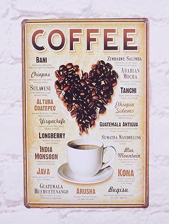Amazon.com: Tienda de café retro D? Cor clásico Metal Estaño ...