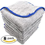 AULLY PARK 800gsm Ultra Thick Plush Microfiber Car Cleaning Towels Buffing Cloths Super Absorbent Drying Auto Datailing Towel Gray (16 in. x 16 in., Pack of 6)