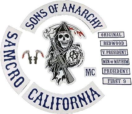 Sons of Anarchy 13 x Piece Full Size Biker Patch set. SOA Patches. SAMCRO Top Rocker by Merch2Rock: Amazon.es: Juguetes y juegos