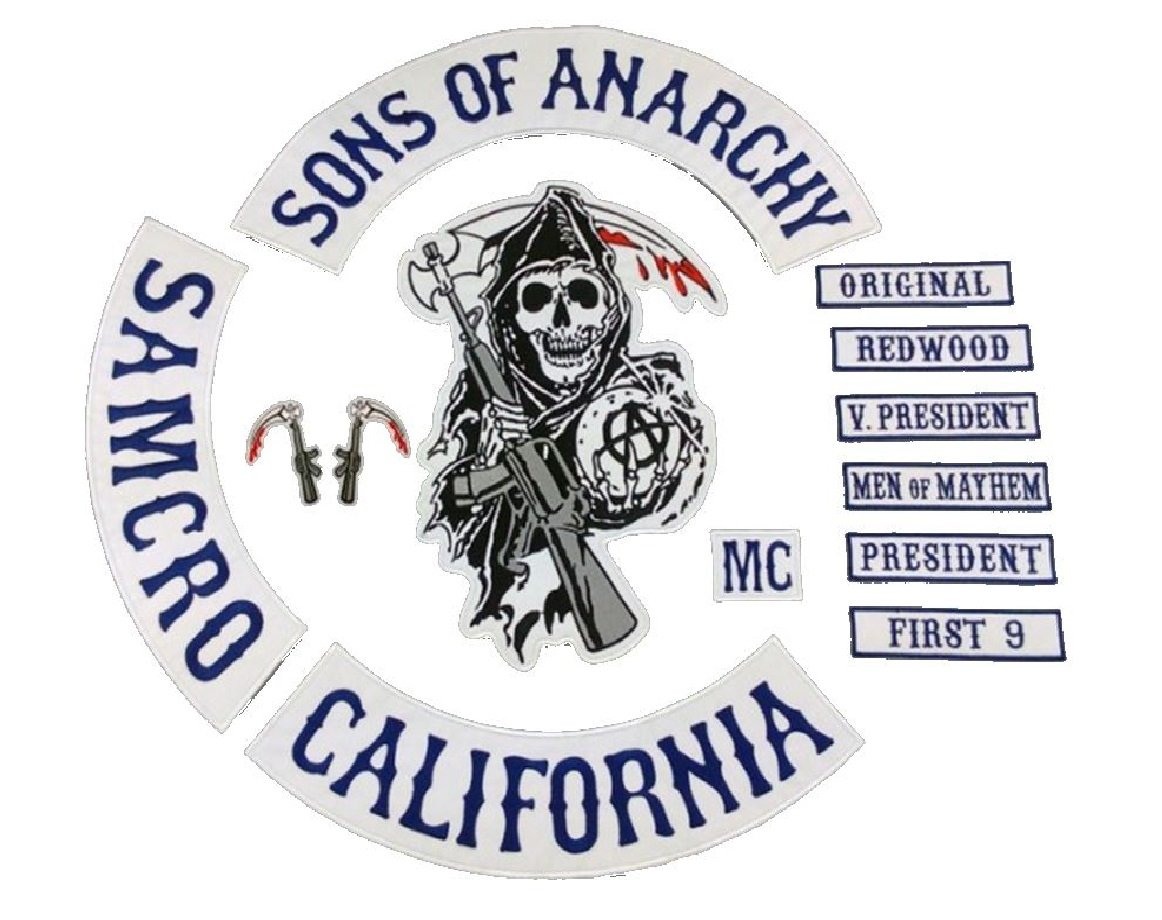 Sons of Anarchy 13 x Piece Full Size Biker Patch set. SOA ...
