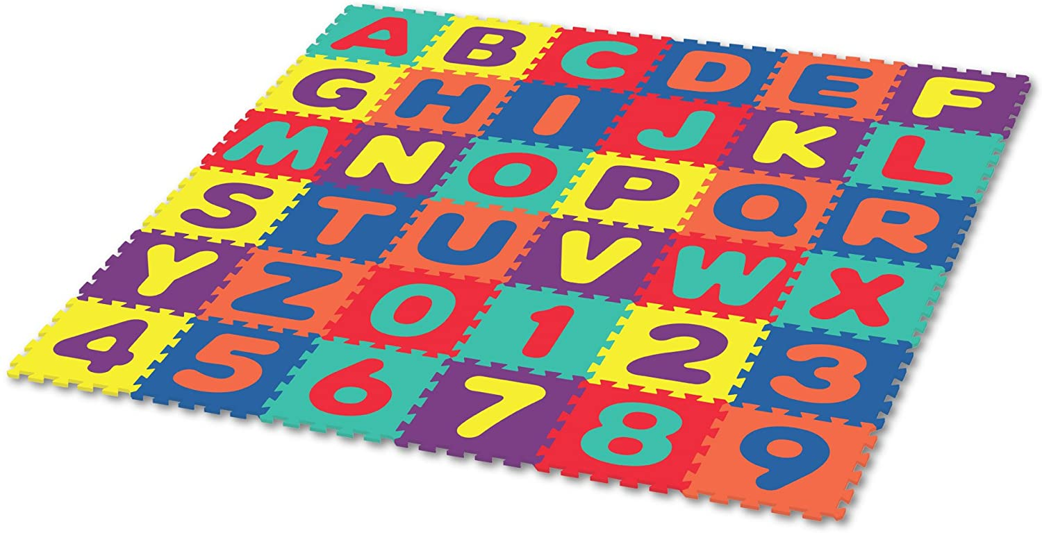 Alphabet & Numbers Rubber EVA Foam Puzzle Play Mat Floor. 36 Interlocking playmat Tiles (Tile:12X12 Inch/36 Sq.feet Coverage). Ideal for Crawling Baby, Infant, Classroom, Toddlers, Kids, Gym Workout: Toys & Games