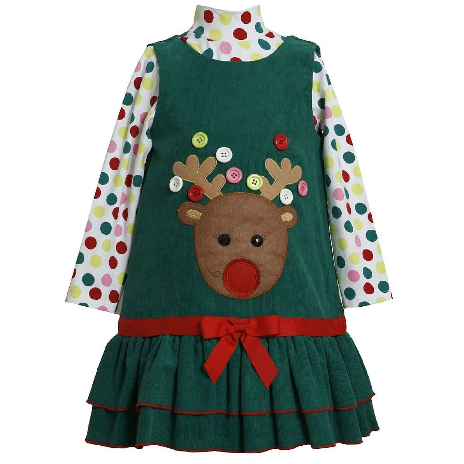 Amazon Bonnie Jean Girls Button Reindeer Christmas Dress