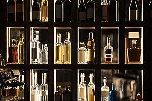 Alcohol Beverages Bar Shelf Illuminated Display Photo Photograph Laminated Dry Erase Sign Poster 36x24