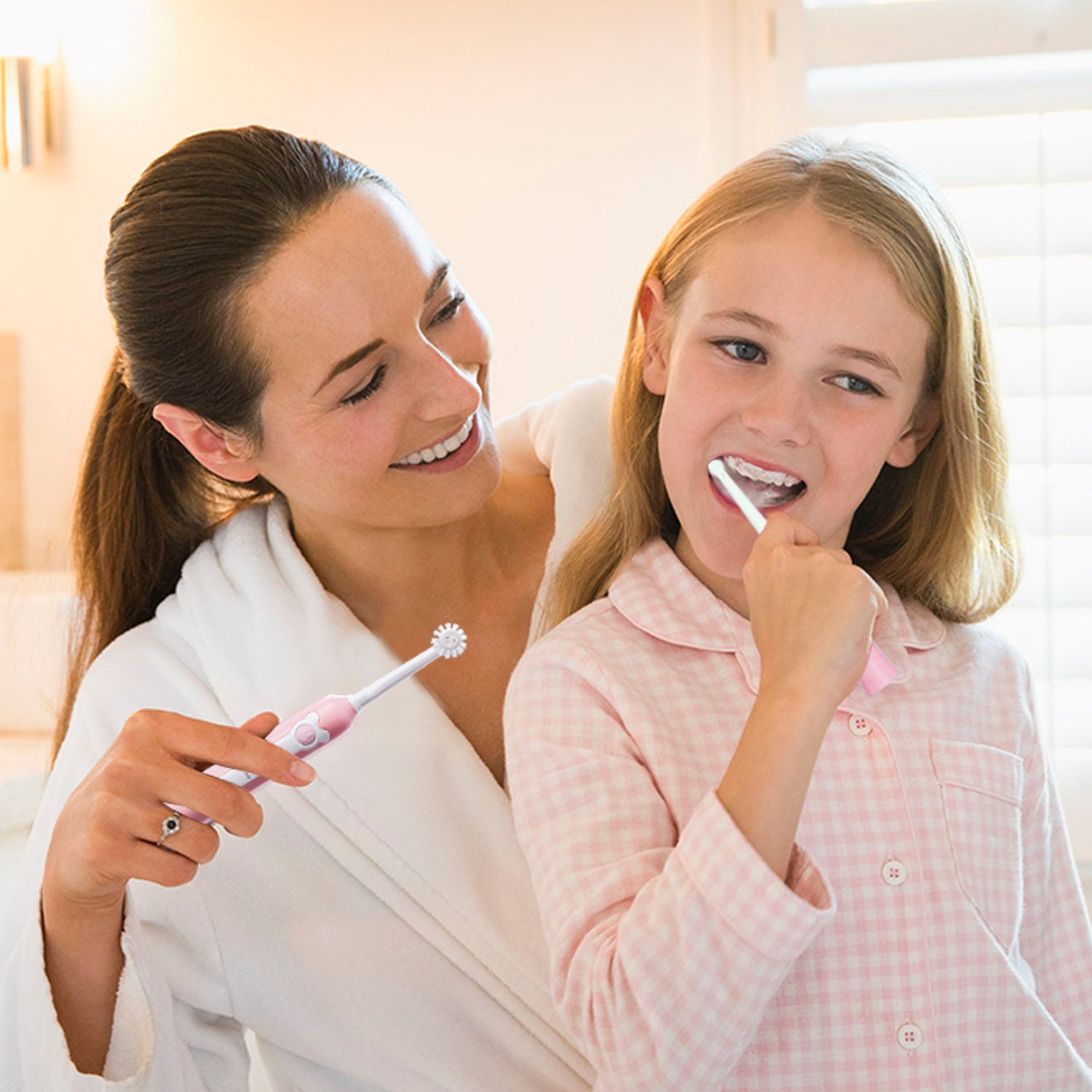 Electric toothbrush kids,NeWisdom 360° rotating 30s FAST brushing Rechargeable WIRELESS CHARGING Electric Toothbrush for Children,4 hours charging,30 days working (Wireless Charge Pink 9-14) by NeWisdom (Image #5)