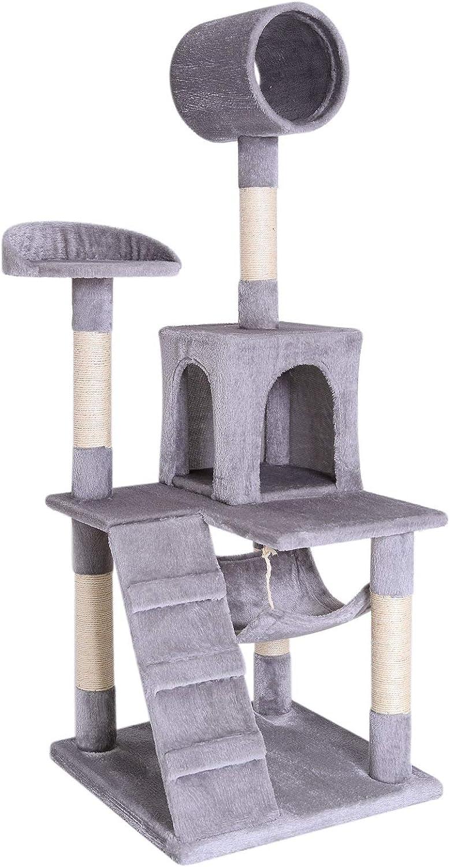 dibea Árbol rascador árbol para escalar árbol rascador para gatos Altura 133 cm Gris claro