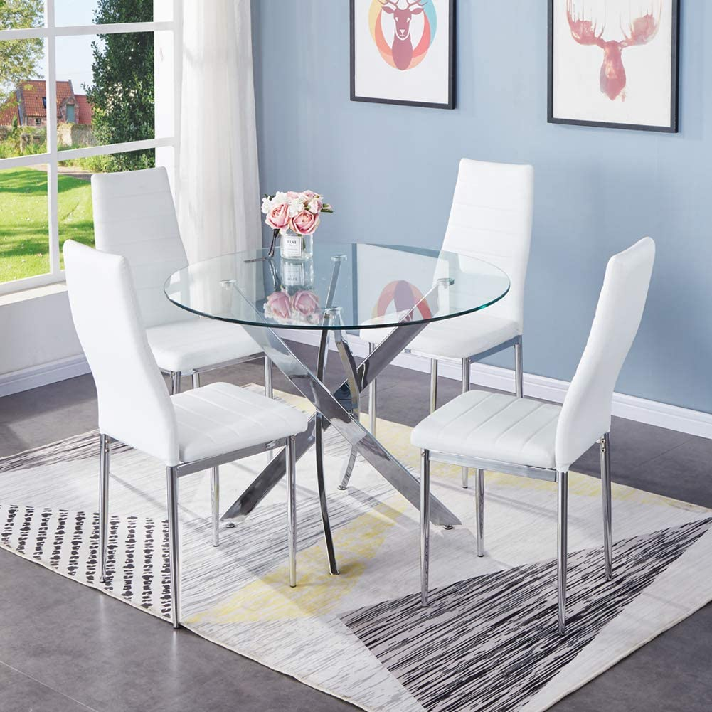 GOLDFAN Dining Table and Chairs Set 8 Modern Glass Round Dining Kitchen  Table and Faux PU Leather Chairs Dining Room Set, White