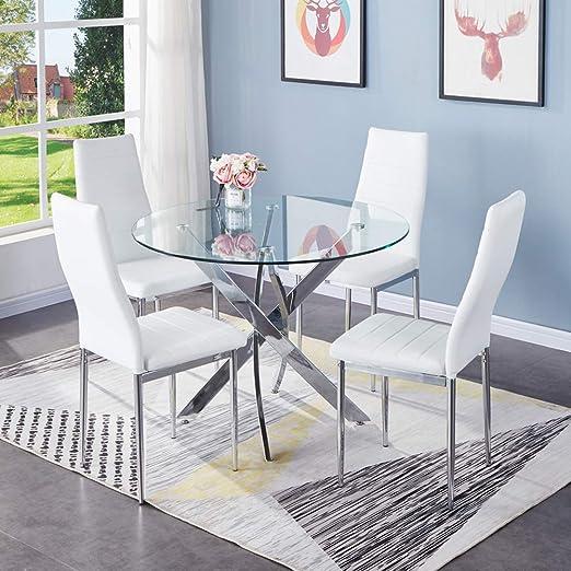 Juego de mesa y sillas de comedor Golfan, 4 sillas de cristal ...