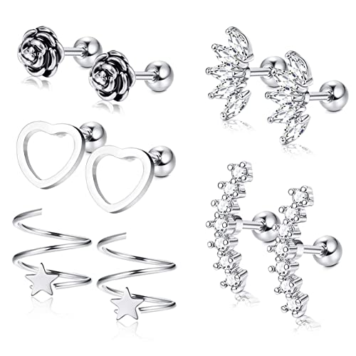 Amazon.com: Funfun Jewelry - 5 pares de pendientes de acero ...