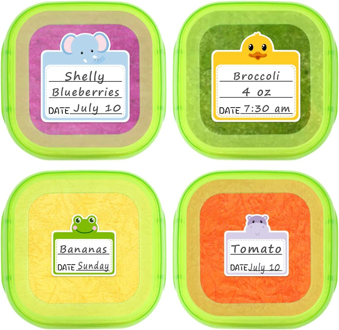 108Pcs Food Storage Containers Labels Removable Waterproof Stickers for Baby Bottles Daycare