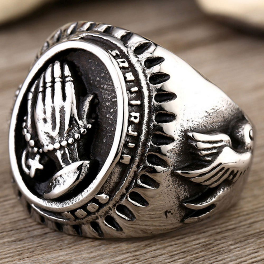 XAHH Jewelry Men's Stainless Steel Vintage Praying Hands Ring Black Silver 8 by XAHH (Image #4)
