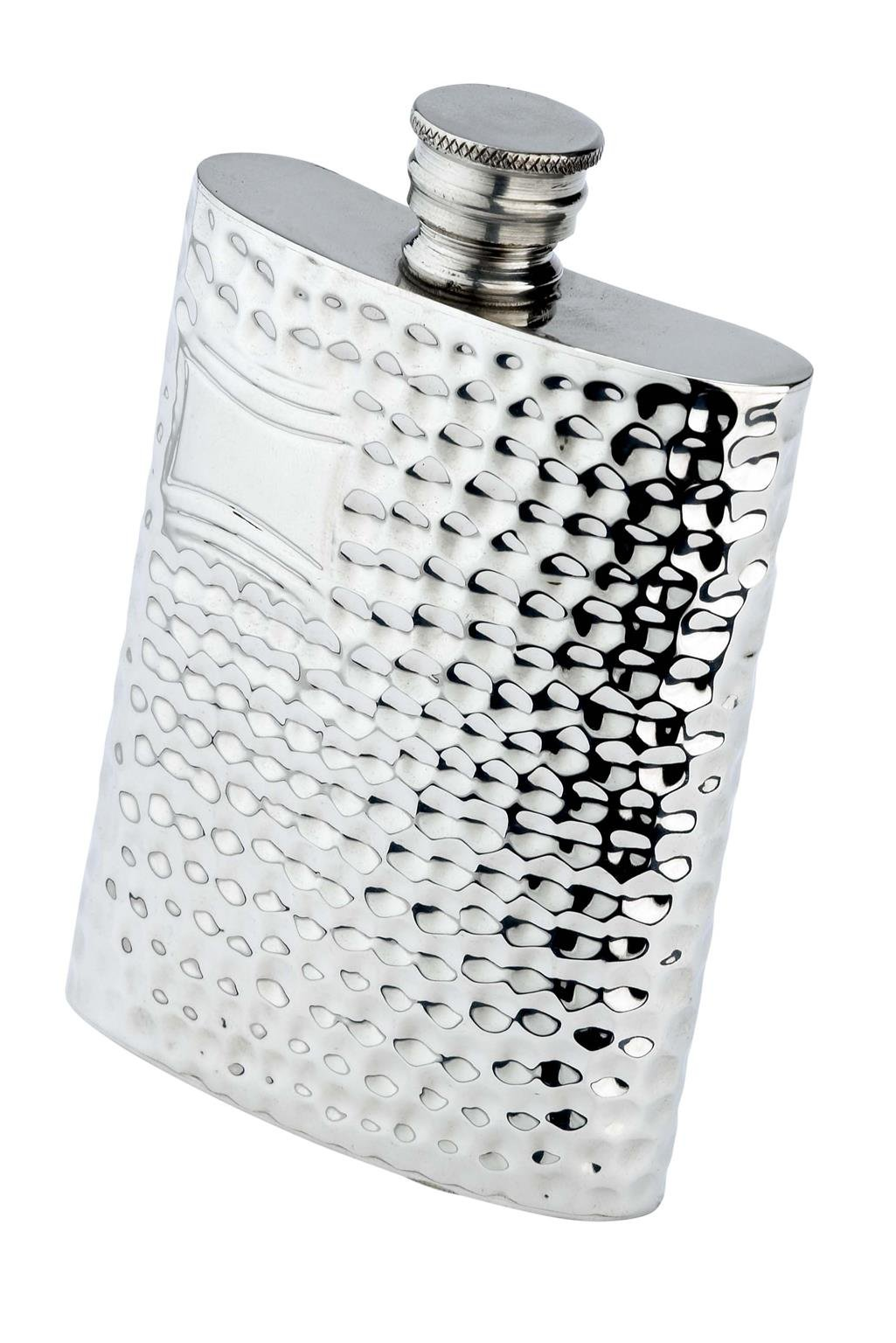 Budd Leather Hammered Pewter Flask, 8-Ounce, Silver