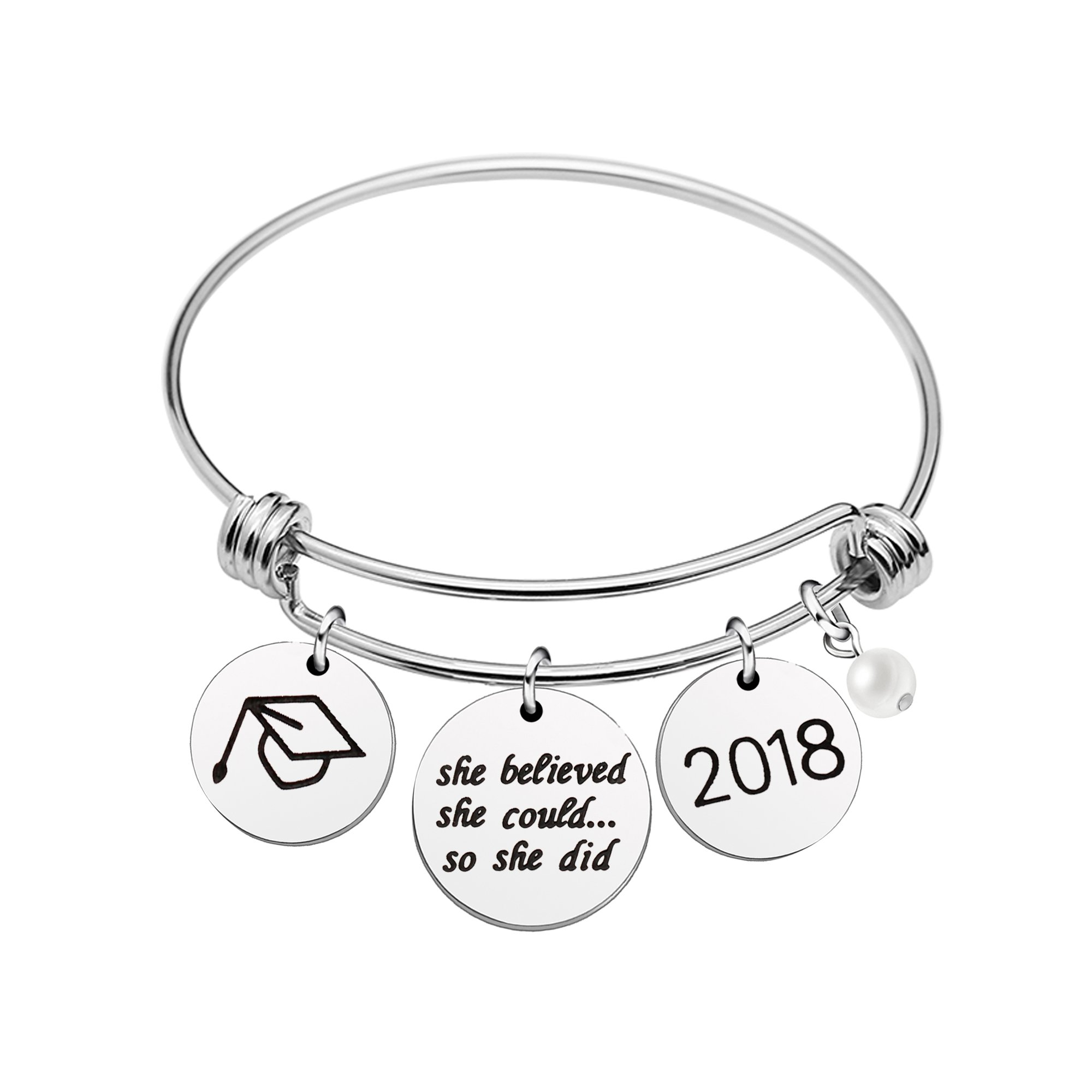 AGR8T Pearl Graduation Cup Bangle Bracelet She believed she could so she did 2018 (Style A)
