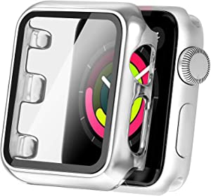 Secbolt 38mm Case Compatible Apple Watch Series 1 Series 2 Series 3 with Built in Tempered Glass Screen Protector- All Around Protective Case for Apple Watch Series 3/2/1 38mm (Silver)