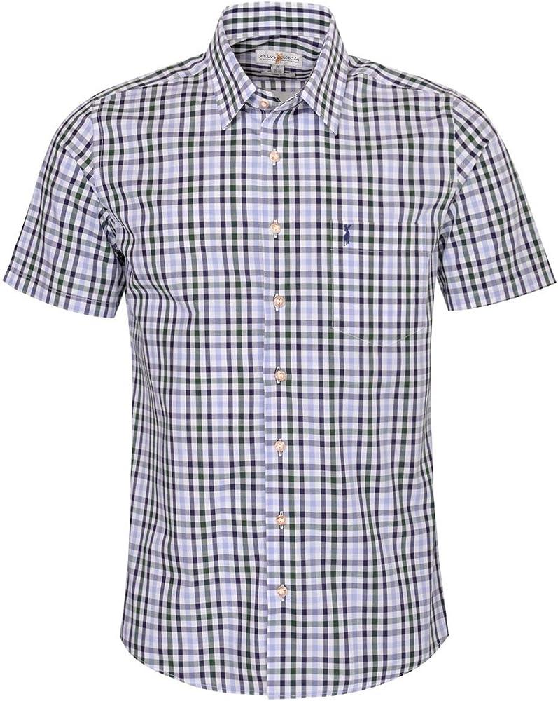 Almsach - Camisa de manga corta para hombre (tallas S - XXL), diseño de cuadros tradicionales Azul claro/abeto M: Amazon.es: Ropa y accesorios
