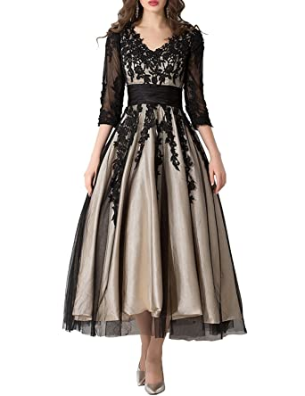 YIRENWANSHA Womens Tea Length Evening Dresses Long Sleeves Cocktail Gowns V Neck Pleated Empire Waist Formal